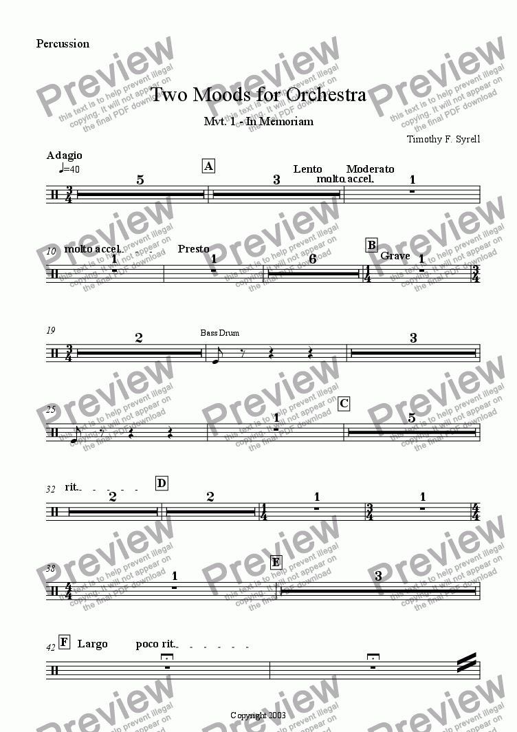 page one of the Percussion part from Two Moods for Orchestra