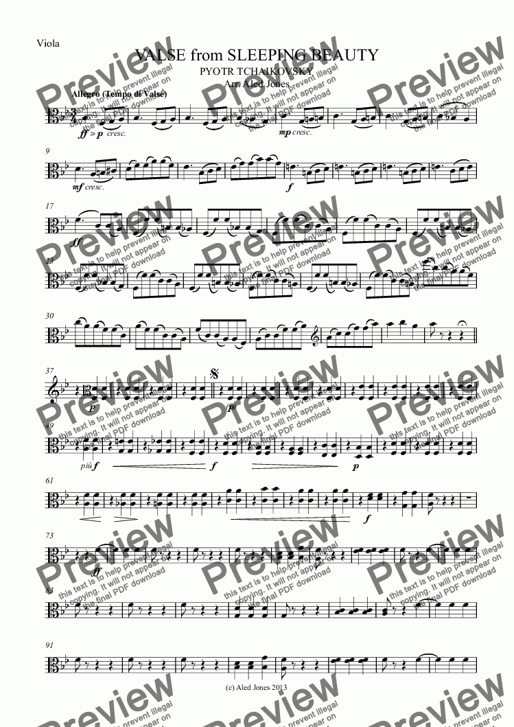 page one of the Viola part from Valse from Sleeping Beauty