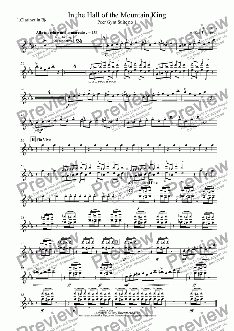 page one of the 1.Clarinet in B^b part from Peer Gynt Suite No.1 Op.46: 4.In the Hall of the Mountain King (Clarinet quintet:3 cl, alto cl,bs cl)