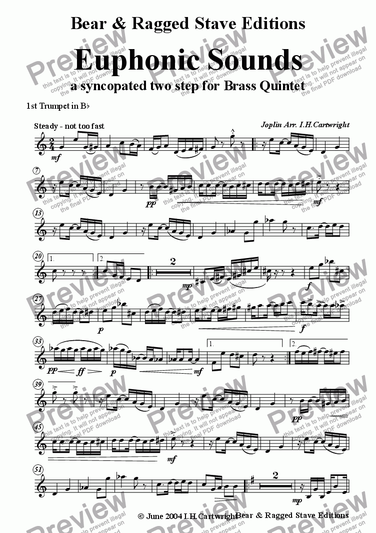 page one of the 1st Trumpet Bb part from Euphonic Sounds for Brass Quintet