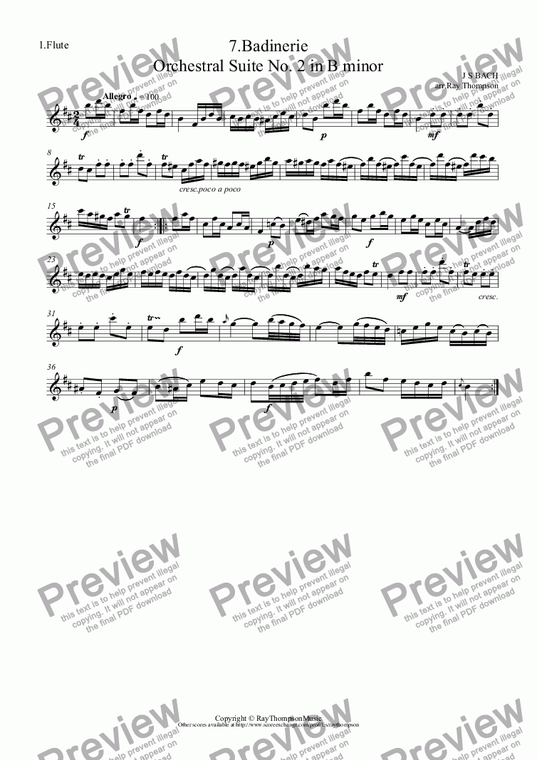 page one of the 1.Flute part from Bach:Orchestral Suite No.2 in B minor BWV1067: 7.Badinerie (Flute Duet)