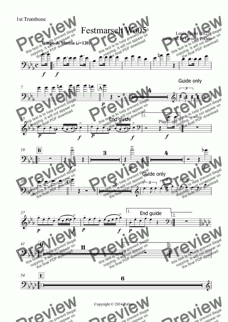 page one of the 1st Trombone part from Festmarsch Wo05 (CB)