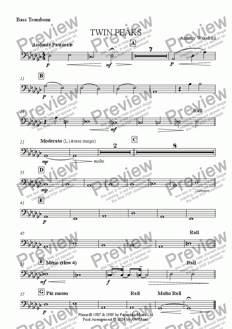 page one of the Bass Trombone part from Twin Peaks