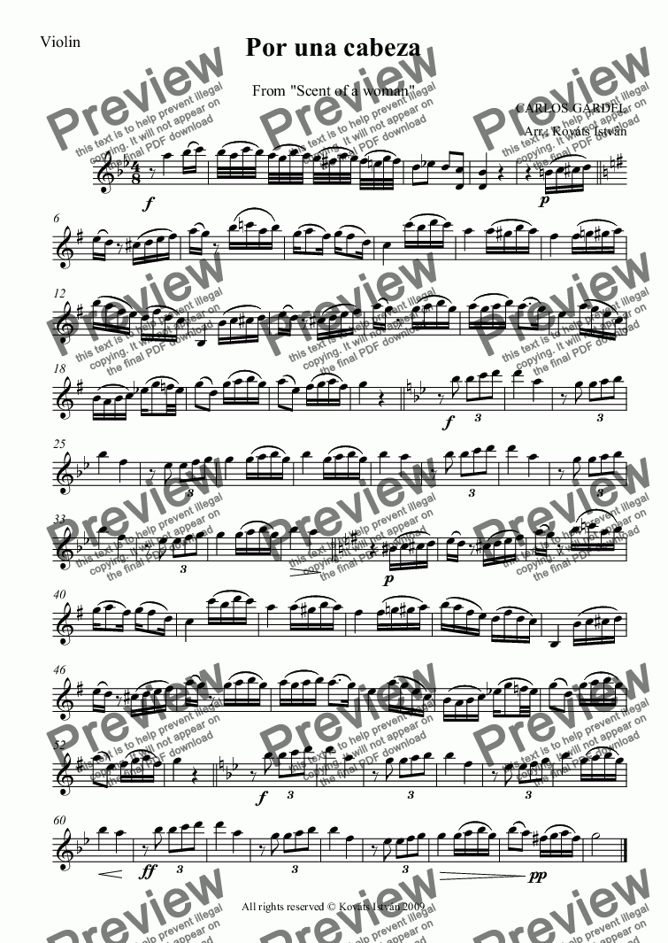 page one of the Violin part from Por una cabeza