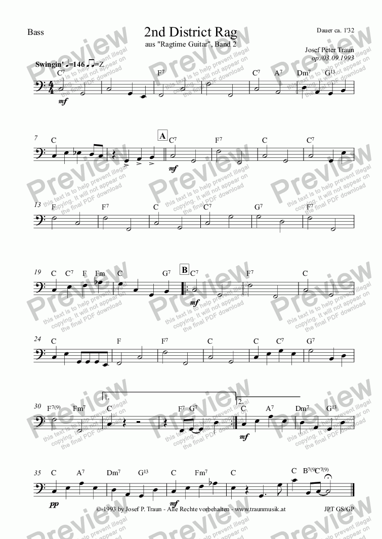 page one of the Bass part from 2nd District Rag (GP/Score & Parts)
