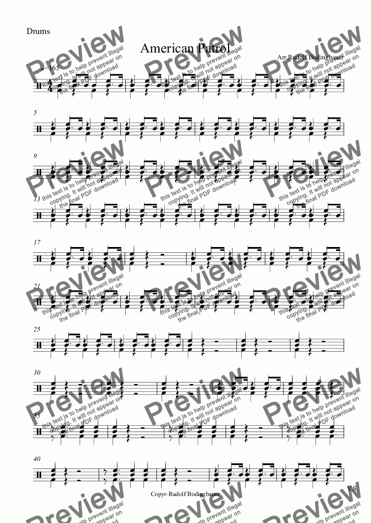 page one of the Drums part from American Patrol