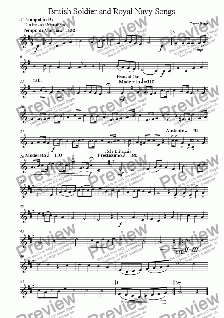 page one of the 1st Trumpet part from British Soldier and Royal Navy Songs (Windband)