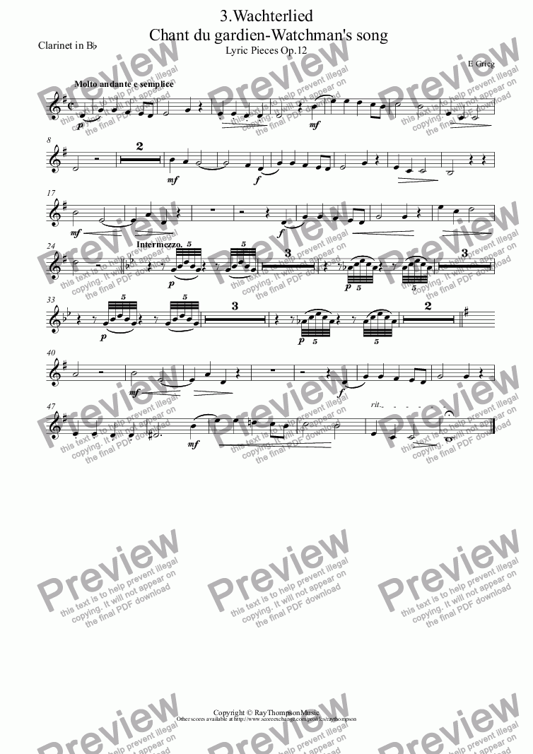 page one of the Clarinet in B^b part from Lyric Pieces Op.12: 3.Wachterlied ( Chant du gardien-Watchman's song)