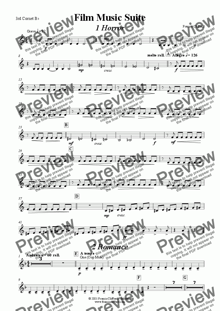page one of the 3rd Bb Cornet part from Film Music Suite (Brass Band)