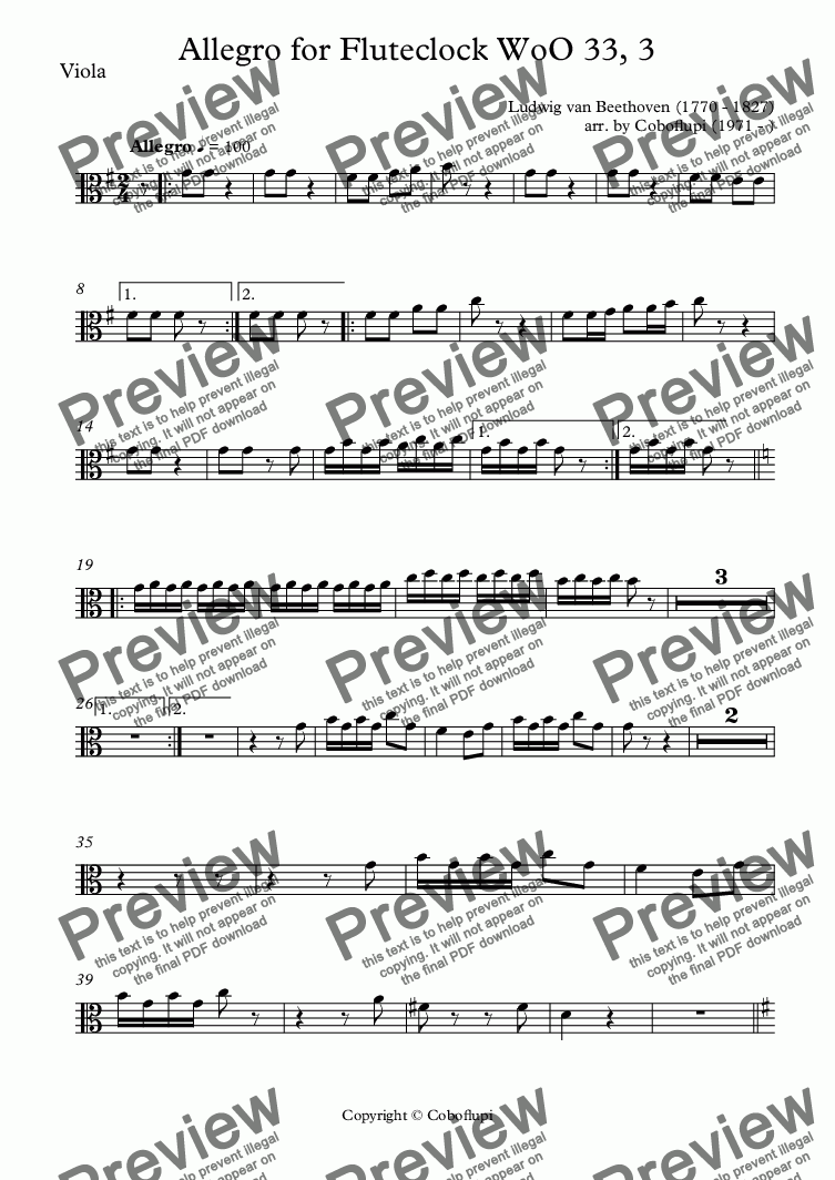 page one of the Viola part from Allegro for Fluteclock WoO 33, 3
