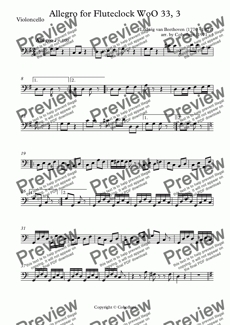 page one of the Violoncello part from Allegro for Fluteclock WoO 33, 3