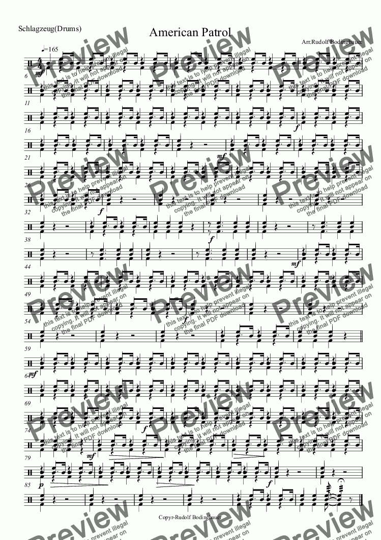 page one of the Drums part from American Patrol Blasorchester