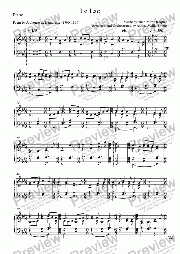 page one of the Piano part from Le Lac (Alain Jacques / Lamartine)