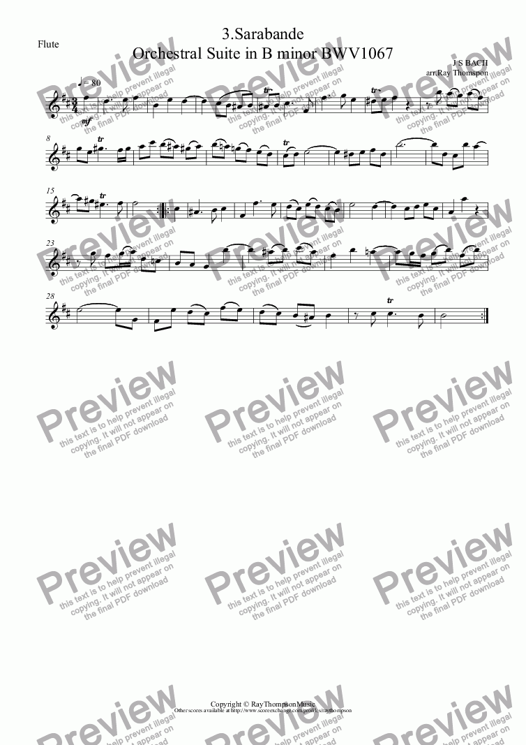 page one of the Flute part from Orchestral Suite No.2 in B minor BWV1067: 3.Sarabande