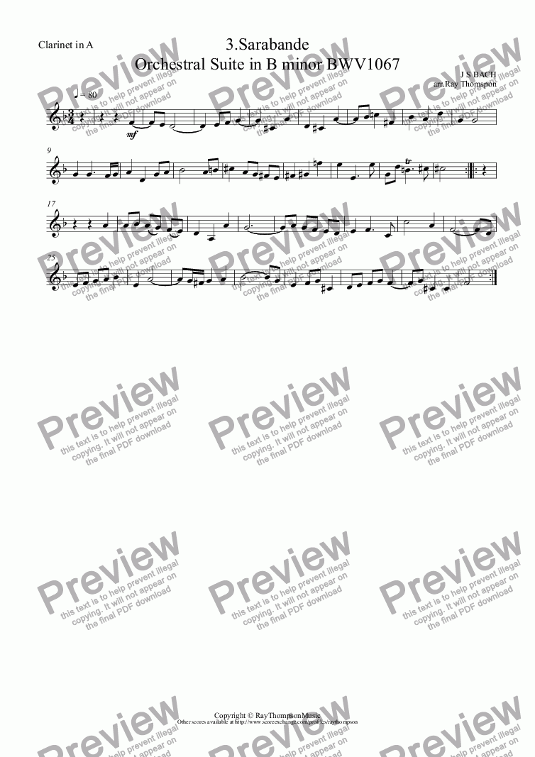 page one of the Clarinet in A part from Orchestral Suite No.2 in B minor BWV1067: 3.Sarabande