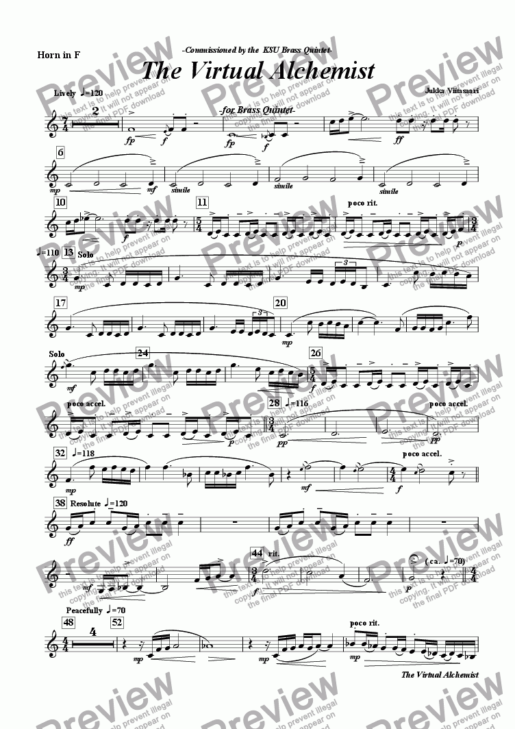 page one of the F Horn part from The Virtual Alchemist (brass quintet)