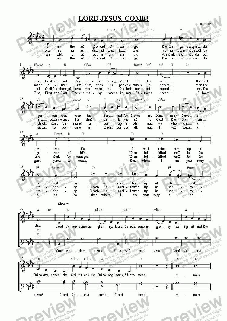 page one of the Words and tune (with guitar chords) part from Lord Jesus, come! (SATB unaccompanied) [2001]