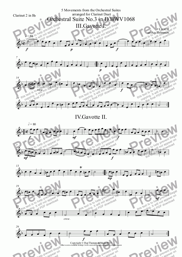 page one of the Clarinet 2 in B^b part from Bach: 5 Movements from Orchestral Suites Nos.2 & 3: Suite no.3 (D major): Gavotte I,Gavotte II & Bourée - Suite No.2 (B minor): Menuet & Badinerie (clarinet duet)