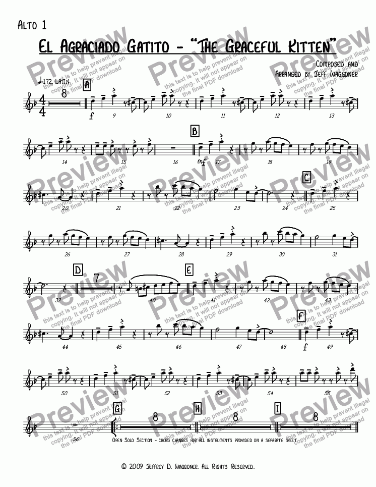"page one of the Alto 1 part from El Agraciado Gatito - ""The Graceful Kitten"""