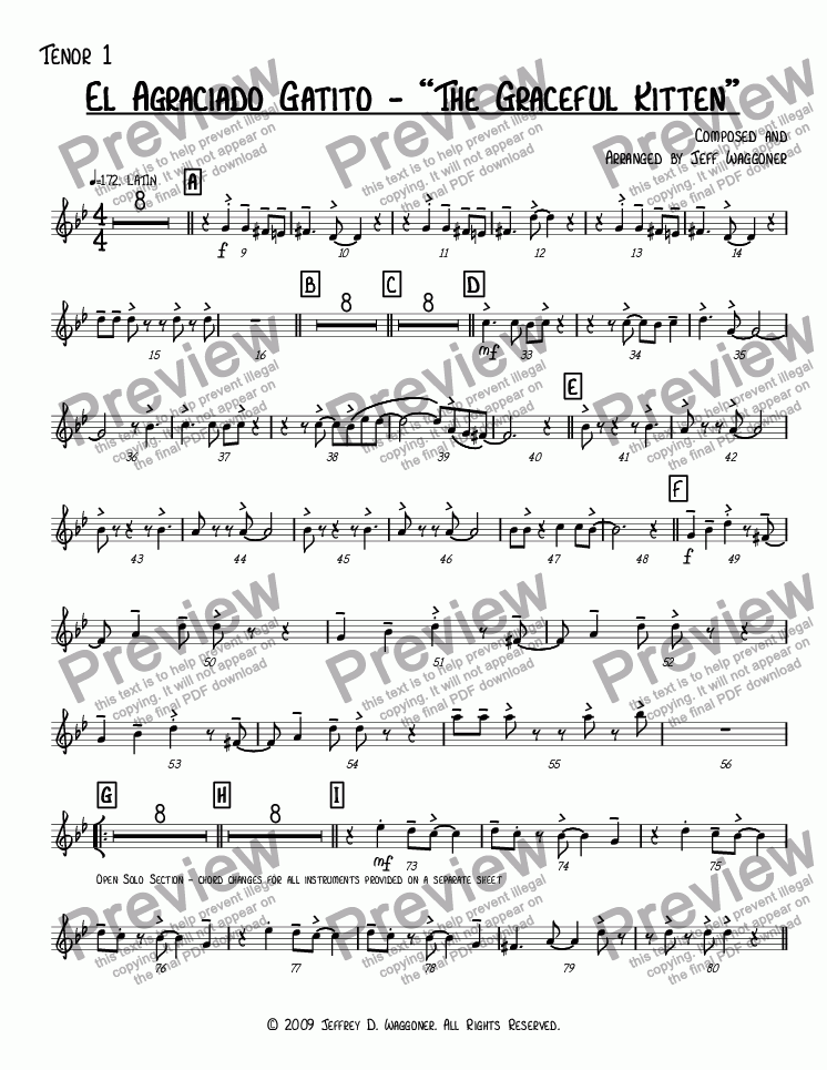 "page one of the Tenor 1 part from El Agraciado Gatito - ""The Graceful Kitten"""