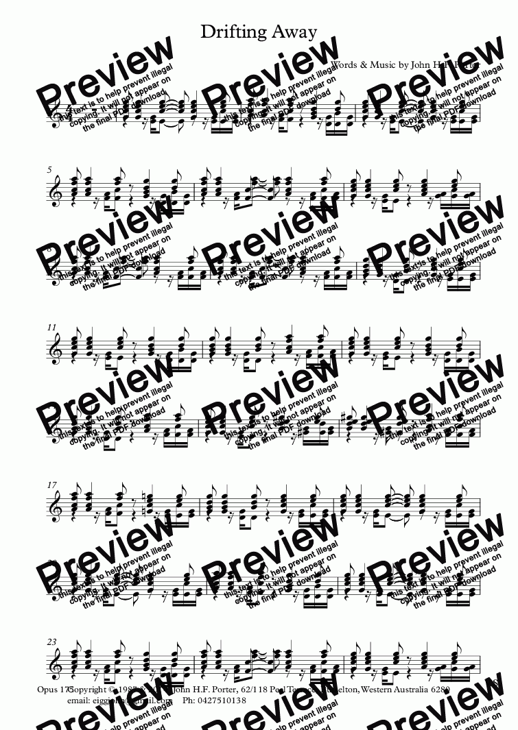 page one of the Steel-String Guitar part from Drifting Away