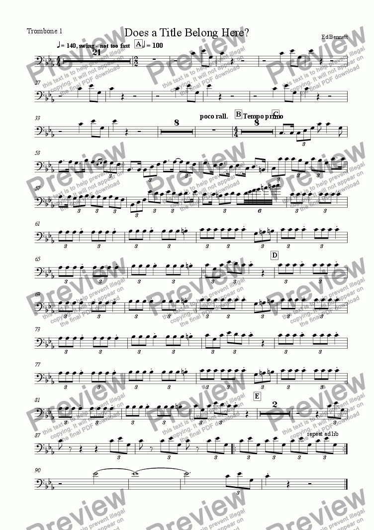page one of the Trombone 1 part from Detitled