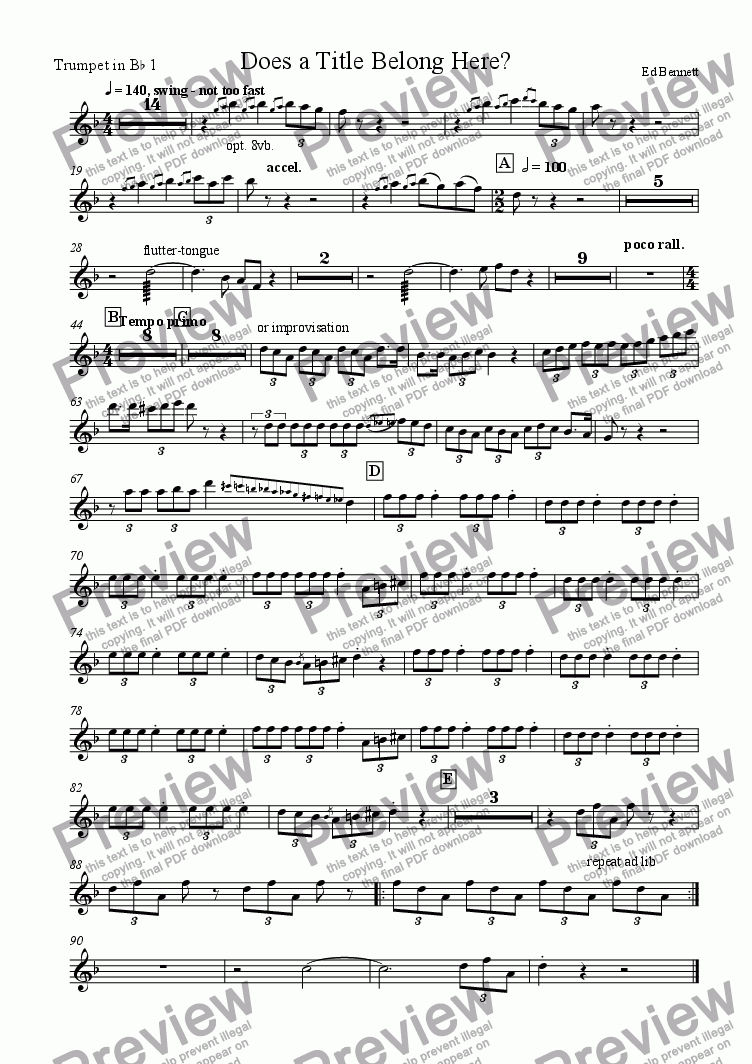 page one of the Trumpet 1 part from Detitled