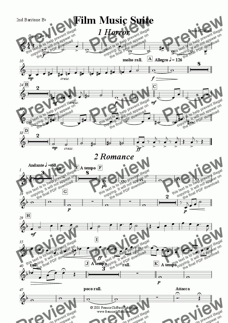 page one of the 2nd Baritone in Bb part from Film Music Suite (Brass Band)