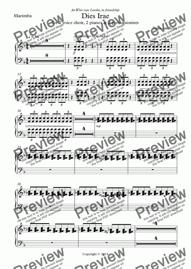 page one of the Marimba part from Dies Irae