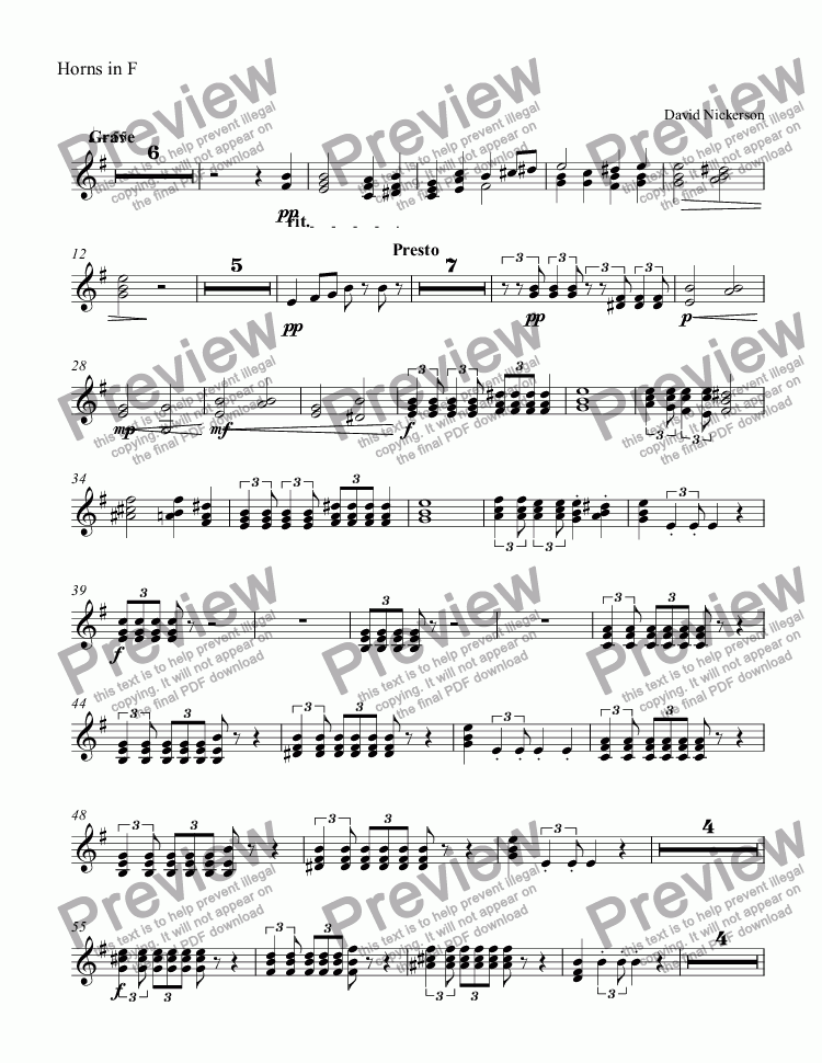 page one of the Horns in F part from DD44