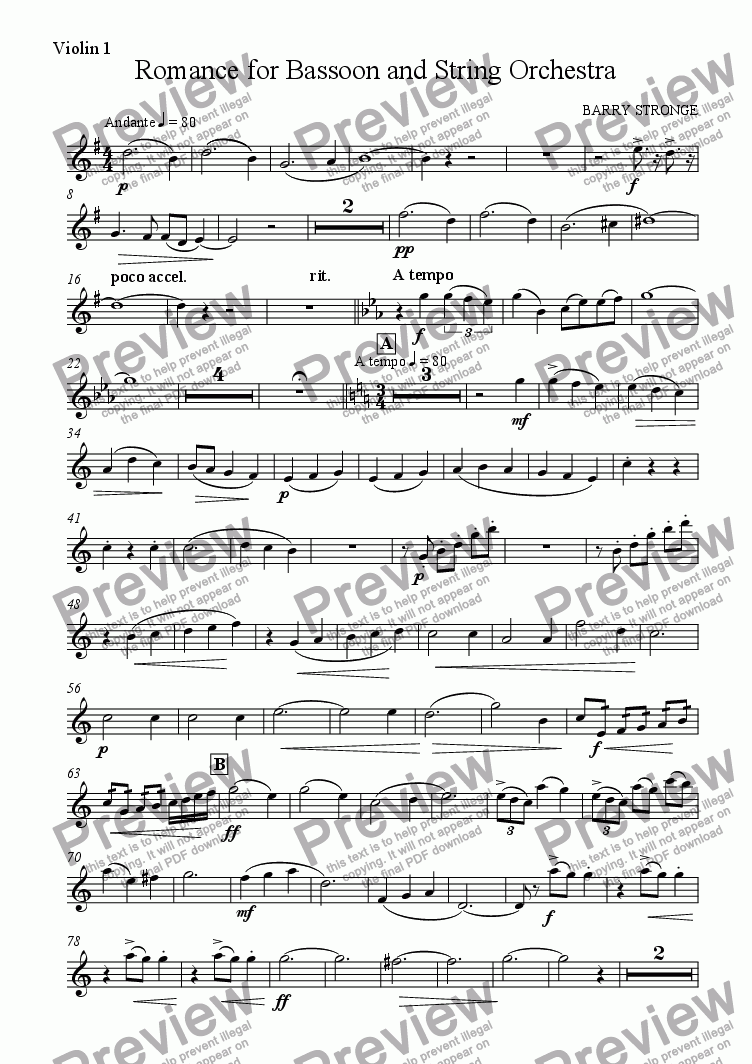 page one of the violin 1 part from Romance for Bassoon and String Orchestra