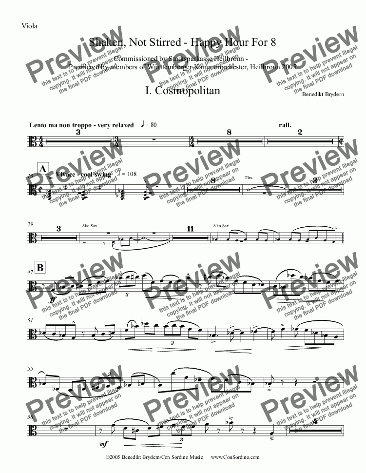 page one of the Viola part from Shaken, Not Stirred - Happy Hour for Eight