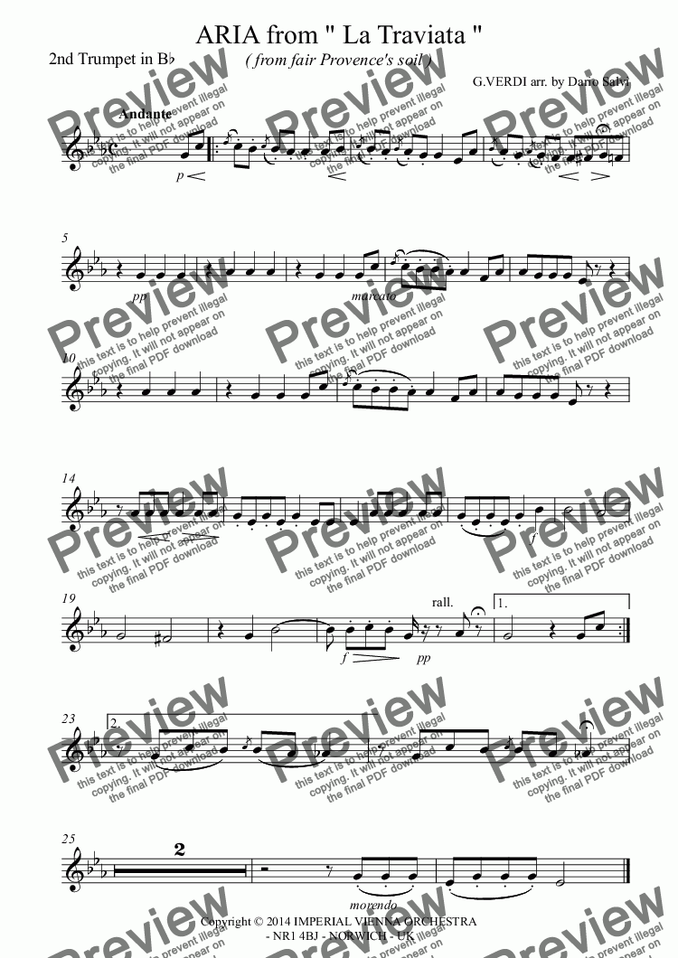 "page one of the 2nd Trumpet in B^b part from ARIA from "" La Traviata ""  ( from fair Provence's soil )"