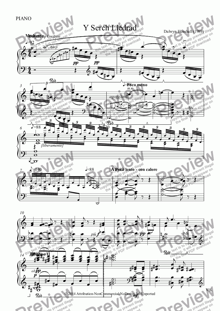 page one of the PIANO part from Y Serch Lledrad