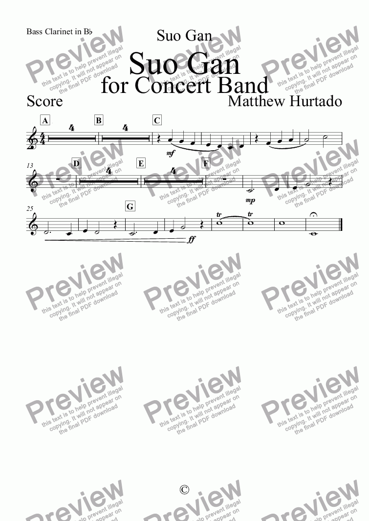 page one of the Bass Clarinet in B^b part from Suo Gan