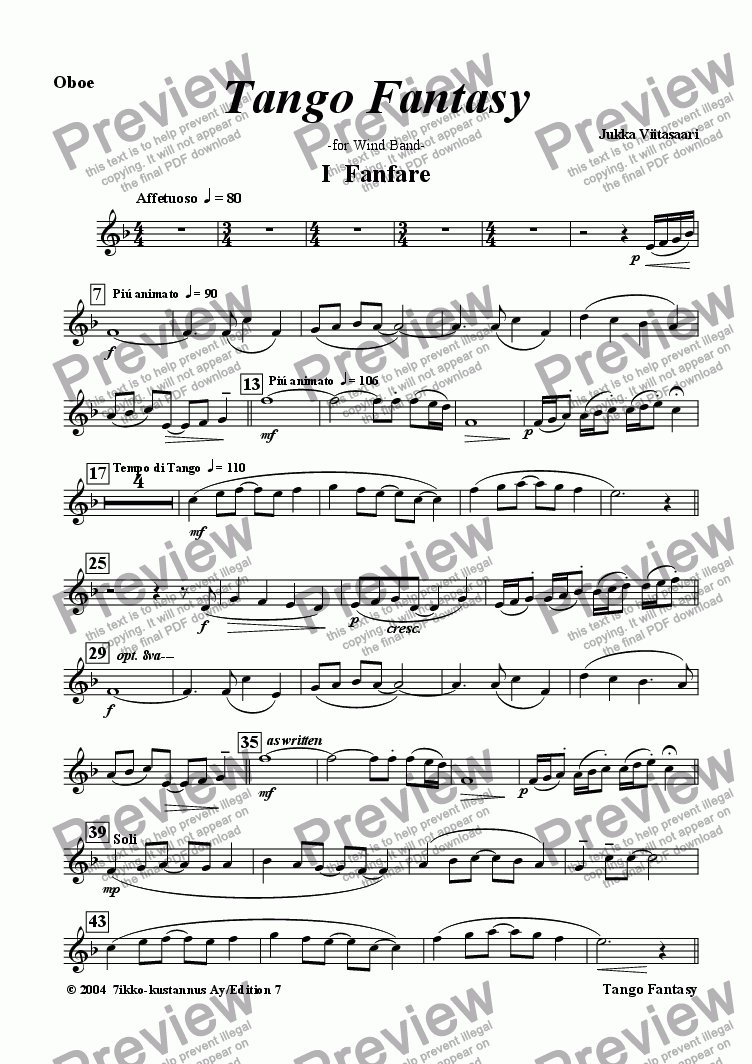 page one of the Oboe part from Tango Fantasy (wind band)