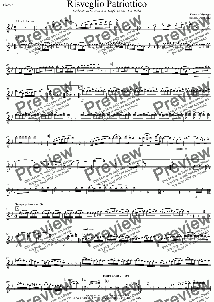 page one of the Piccolo part from Risveglio Patriottico