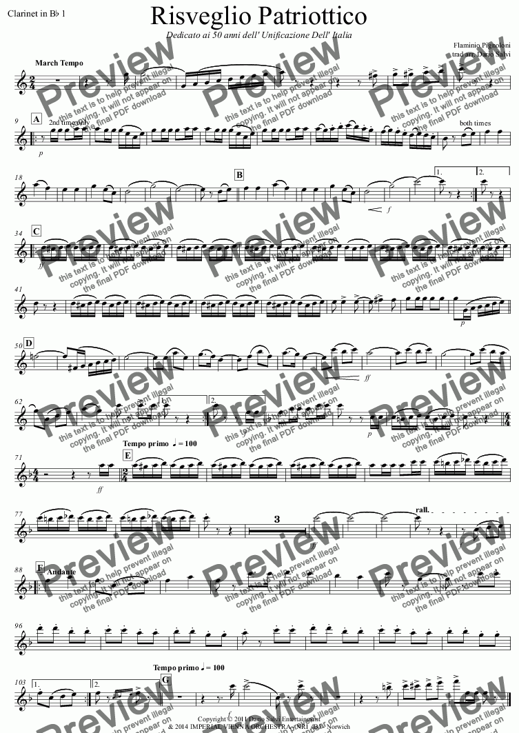 page one of the Clarinet in B^b 1 part from Risveglio Patriottico