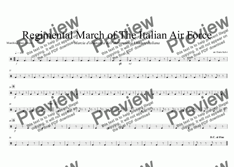 page one of the Marching Bass Drum part from Marcia dell' Aeronautica Militare