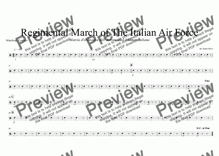 page one of the Marching Cymbals part from Marcia dell' Aeronautica Militare