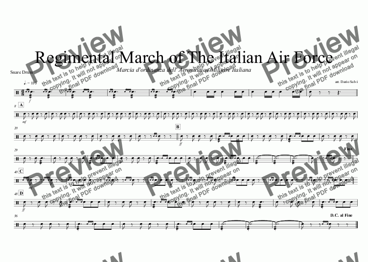 page one of the Snare Drum part from Marcia dell' Aeronautica Militare