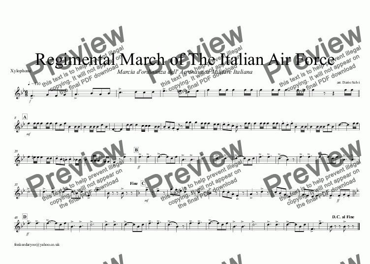 page one of the Xylophone part from Marcia dell' Aeronautica Militare