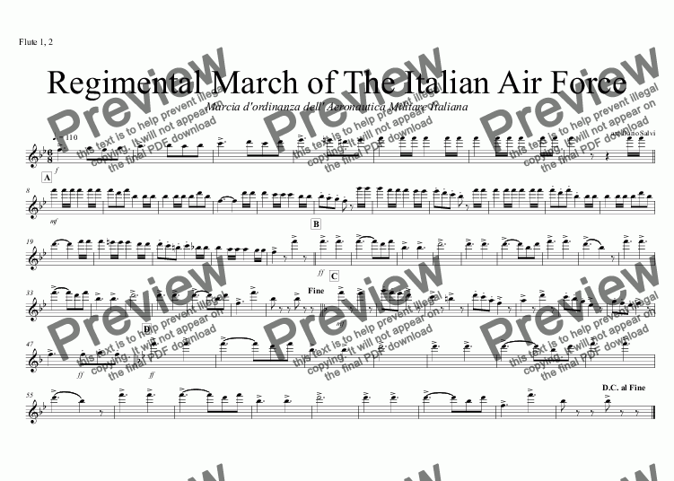 page one of the Flute 1, 2 part from Marcia dell' Aeronautica Militare