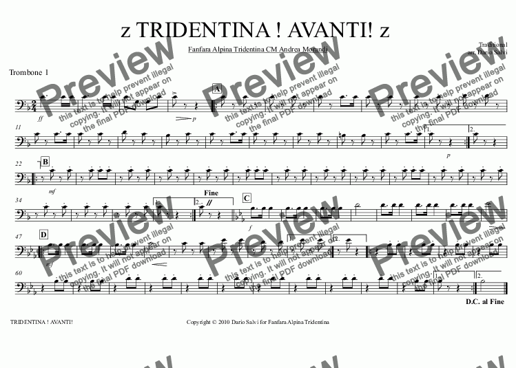 page one of the Trombone 1 part from TRIDENTINA ! AVANTI!