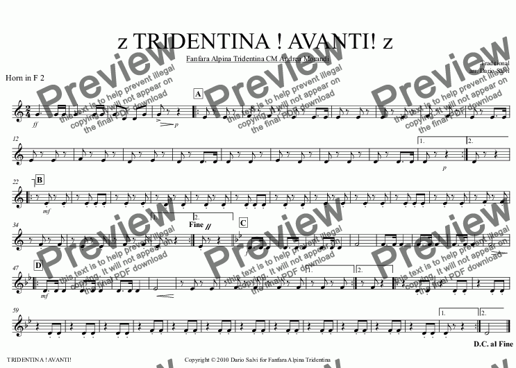 page one of the Horn in F 2 part from TRIDENTINA ! AVANTI!