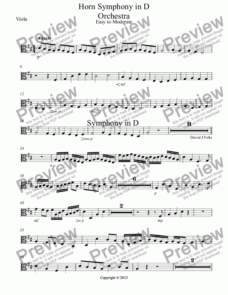 page one of the Viola part from Horn Symphony in D Orchestra