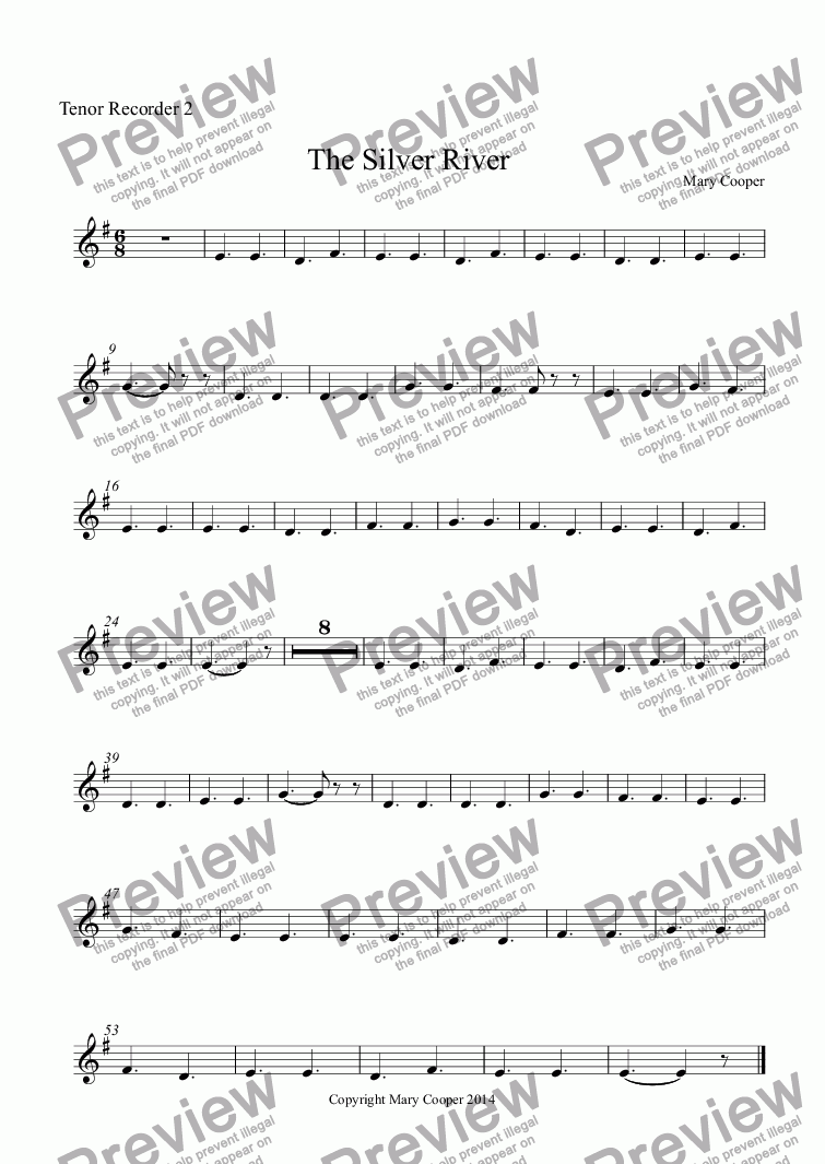 page one of the Tenor Recorder 2 part from The Silver River (Tales from the Sugar Mountains)