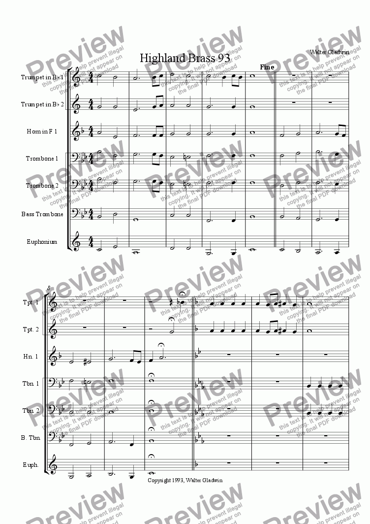 page one of the Trombone 3 part from Highland Brass 93