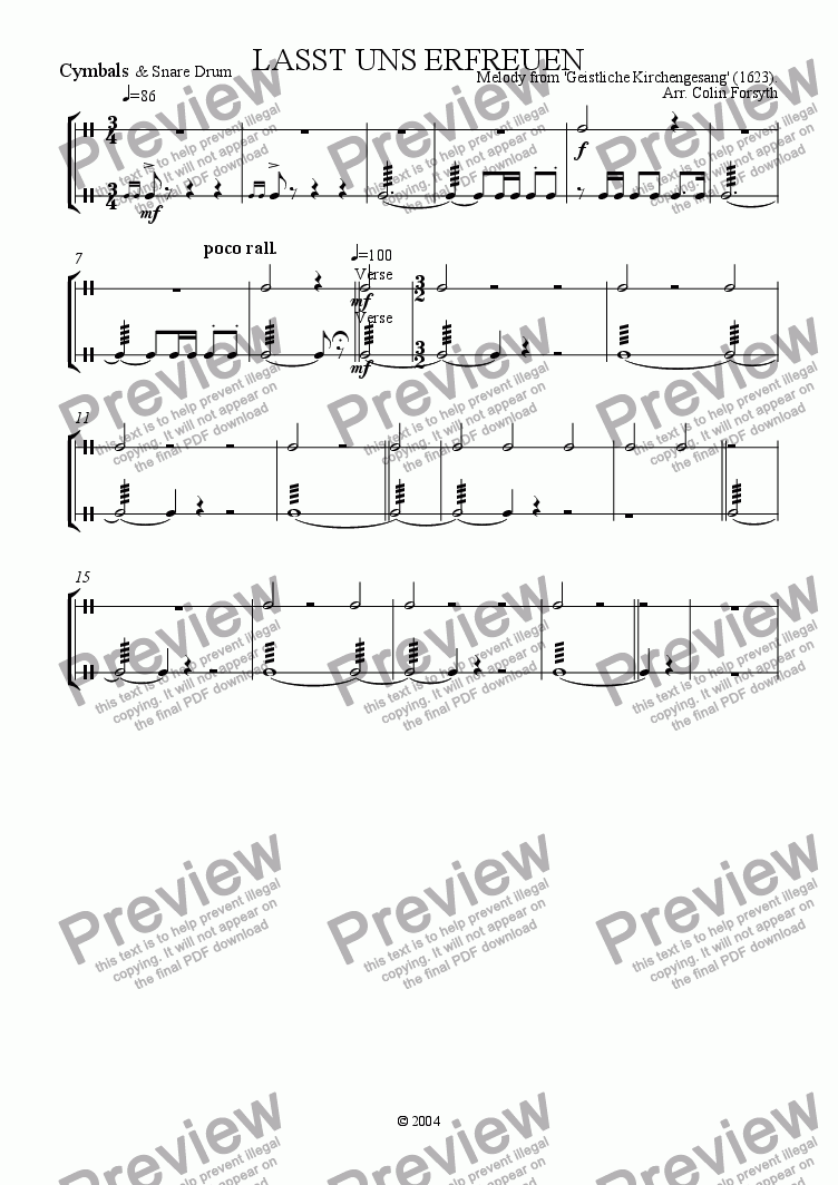 page one of the Cymbals & Snare Drum part from 'Lasst uns erfreuen' arr. for Brass, Organ & Percussion.