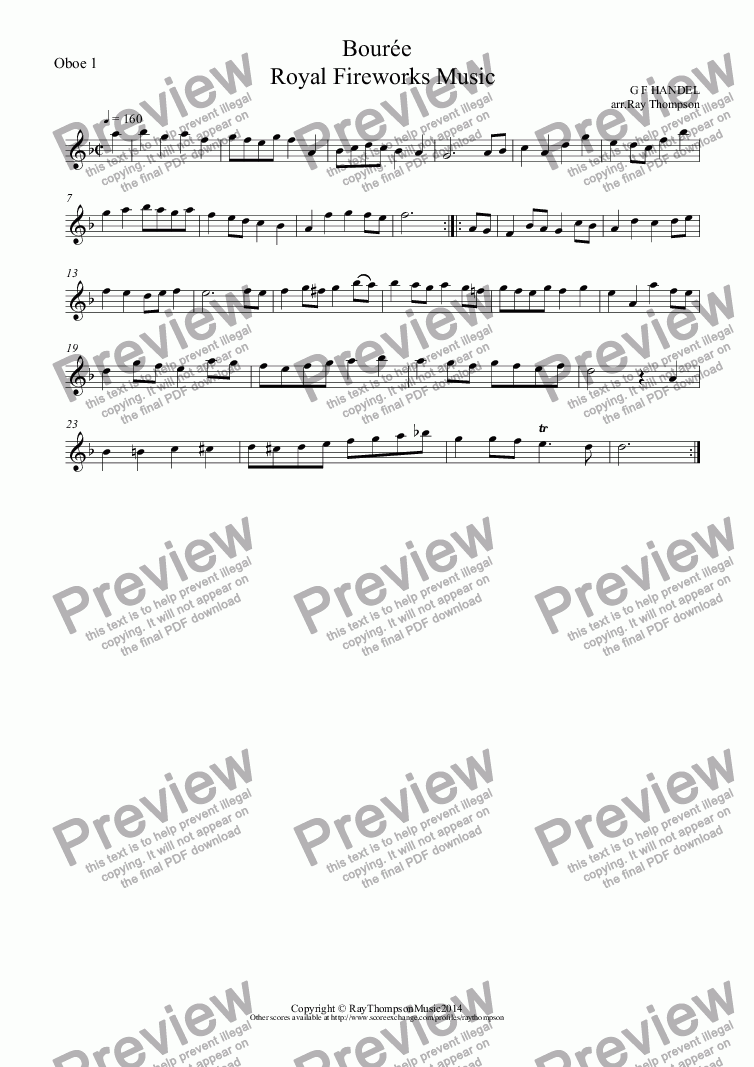 page one of the Oboe 1 part from Royal Fireworks Music: Bourée (2 oboes & bassoon)